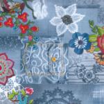 rol tafelzeil blue jeans bloemen