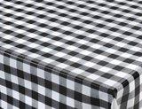 Rond tafelzeil grote ruit zwart (140cm)_