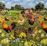 Tafelzeil kippen en kuikens_