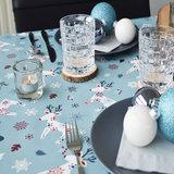 Ovaal kerst tafelzeil eland blauw_