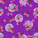 Tafelzeil funky flowers paars_