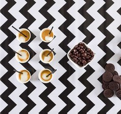 35x120cm Restje Mexicaans tafelzeil zigzag zwart