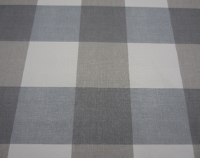 30x140cm Restje tafelzeil blokken grijs/blauw