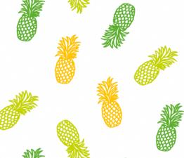 Rond tafelzeil ananas op wit (140cm)