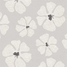 50x140cm Restje tafelzeil grote bloemen grijs
