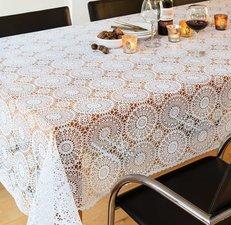 Proefstaaltje: tafelzeil kant wit met rond patroontje