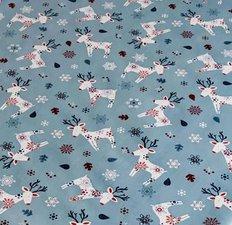 Rond kerst tafelzeil eland blauw (140cm)