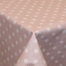 Rond tafelzeil vintage stippen used roze (ca. 137cm)