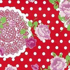 Ovaal tafelzeil funky flowers rood