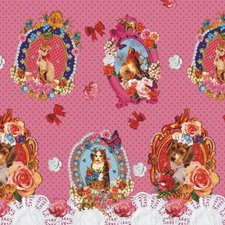 Rond tafelzeil tussen kunst en kitsch roze (140cm)