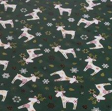 SALE Tafelzeil Kerst eland donkergroen 100x140cm