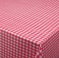 Ovaal tafelzeil ruitje rood Paty