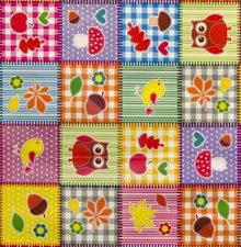 Ovaal tafelzeil patchwork figuurtjes