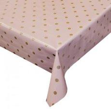 Tafelzeil roze met metallic stippen