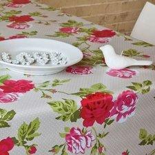 Ovaal tafelzeil nopjes grijs met rozen