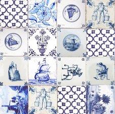 Rond tafelzeil delftsblauwe tegeltjes (140cm)