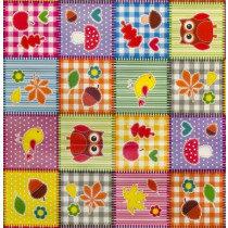 SALE tafelzeil patchwork figuurtjes 150x140cm