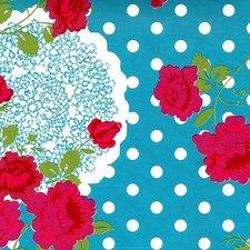 50x140cm Restje tafelzeil funky flower blauw
