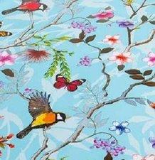 50x140cm Restje tafelzeil vogels en vlinders blauw