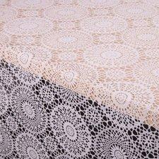 50x140cm Restje tafelzeil kant wit rond patroontje