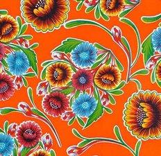 Rond Mexicaans tafelzeil floral oranje (120cm)