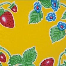 Rond Mexicaans tafelzeil aardbei geel (120cm)