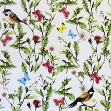 Rond tafelzeil vogels en vlinders (140cm)