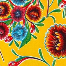 Rond Mexicaans tafelzeil floral geel (120cm)