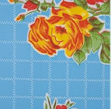 Rond Mexicaans tafelzeil rosendal blauw (120cm)