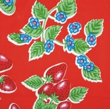 35x120cm Restje Mexicaans tafelzeil aardbei rood