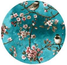Rond tafelzeil vogels Japans blauw (140cm)