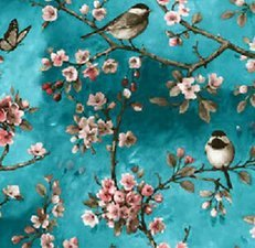 35x140 Restje tafelzeil vogels Japans blauw