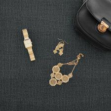 Ovaal tafelzeil tweed zwart/antraciet