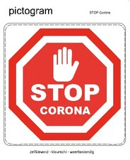 Pictogram sticker STOP corona (10x10 cm)