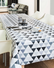 45x140cm Restje tafelzeil piramide grijs/zwart