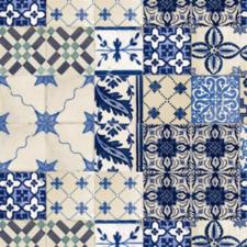 45x140cm Restje tafelzeil Portugese tegels blauw
