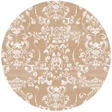 Rond vintage tafelzeil used-look beige (ca. 137cm)