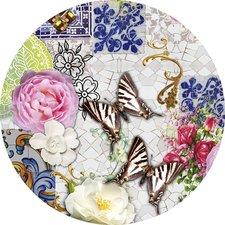 Rond tafelzeil mozaiek met vlinders (140cm)