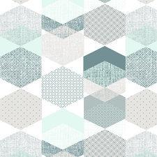 45x140cm Restje tafelzeil polygone blue
