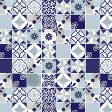 Rond tafelzeil Portugese tegels blauw (ca. 137cm)