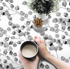 45x140cm Restje tafelzeil bladeren grijs/wit