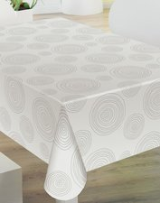 45x140cm Restje tafelzeil grijze cirkels op wit