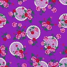 Ovaal tafelzeil funky flowers paars