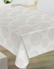 35x140 Restje tafelzeil grijze cirkels op wit