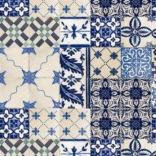 Ovaal tafelzeil Oud Mediterrane tegeltjes blauw