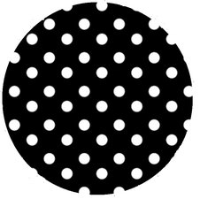 Rond tafelzeil polkadot stippen zwart (140cm)