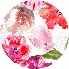 Groot rond tafelzeil met tulpen roze/rood (160cm)