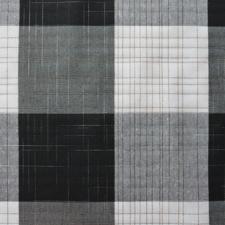 SALE tafellinnen geblokt wit/grijs/zwart 140x140cm wasbaar