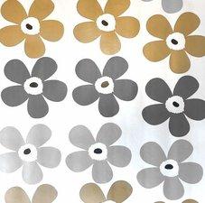 Rond tafelzeil bloemen goud zilver & grijs (ca. 140cm)