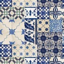 40x140cm Restje tafelzeil Oud Mediterrane tegeltjes blauw